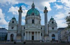 Wiedeń Austria, Kwiecień, - 20, 2016: St Charles kościół (Karlskirc Zdjęcie Stock