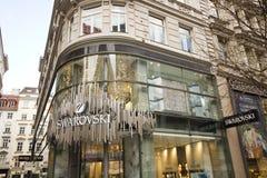 Wiedeń, Austria - 22 Marzec, 2016: Swarovski biżuterii sklep na Karta Zdjęcia Royalty Free