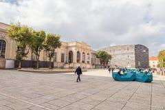 WIEDEŃ AUSTRIA, PAŹDZIERNIK, - 07, 2016: MuseumsQuartier i przedstawienie teatr, Austriackiej architektury projekta miastowy muze Obrazy Royalty Free