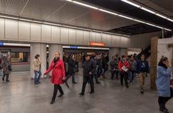 WIEDEŃ AUSTRIA, PAŹDZIERNIK, - 06, 2016: Stacja metru w Wiedeń, Austria Fotografia Stock