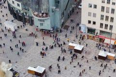 Wiedeń, Austria Styczeń 2, 2018 Widok od obserwacji platformy St Stephens Domkirche Katedralnego St Stephan obrazy stock