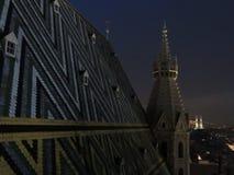 Wiedeń miasta linia horyzontu przy nocą Zdjęcie Stock