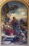 Wiedeń - modlitwa Jezus w Gethsemane ogródzie Franz Josef Dobiaschofsky od 19. centu. w Altlerchenfelder kościół zdjęcia royalty free