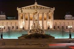 Wiedeń parlament nocą Obrazy Royalty Free