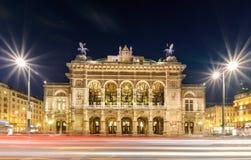 Wiedeń stanu opera w wieczór Austria Obraz Stock