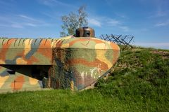 Wieder aufgebauter Bunker N-S 82 Brezinka in der Tschechischen Republik Stockfotos