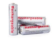 Wieder aufladbare AA-Batterien lokalisiert Stockfotografie