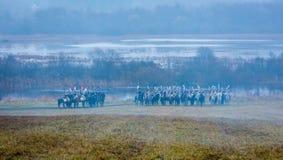 Wieder--enactors auf dem Glattbutt-Schlachtfeld für die Rekonstruktion des Kampfes 1812 des Berezina-Flusses, Weißrussland Lizenzfreie Stockbilder