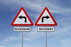 Wiederanlauf oder Rezession Stockfotos