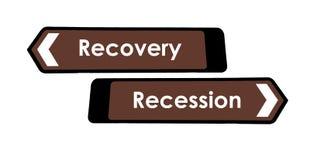 Wiederanlauf-und Rezession-Zeichen Stockbilder