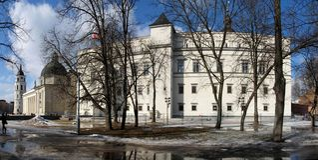 Wiederaufbau von Royal Palace von Litauen in Vilnius Stockbild