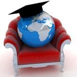 Wiedergabe 3D der Erde auf einem Stuhl Lizenzfreies Stockbild
