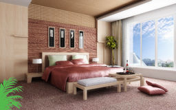 Wiedergabe 3D des Hauptschlafzimmers Stockbild