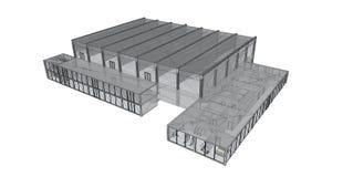 Wiedergabe 3D Drahtfeld des Gebäudes. Lizenzfreies Stockfoto