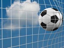 Wiedergabe 3d einer Fußballkugel in einem Netz Stockfotografie