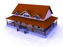 Wiedergabe 3D einer großen Villa stock abbildung