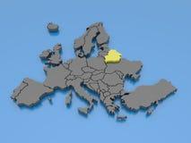 Wiedergabe 3d einer Karte von Europa - Belarus Lizenzfreies Stockfoto