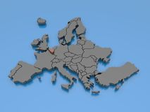 Wiedergabe 3d einer Karte von Europa - Belgien Stockfotografie