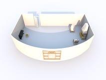 Wiedergabe 3d eines Wohnzimmers Stockbild