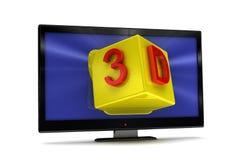 Wiedergabe 3D von Fernsehapparat, lcd-Überwachungsgerät auf Weiß stock abbildung