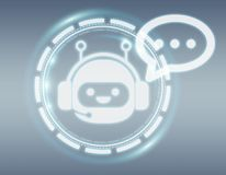 Wiedergabe Chatbot-Illustration 3D Stockfoto
