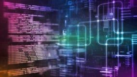 Wiedergabe 3D abstrakter Technologie Digital Binäres Kodierungsstückchen Computer-Software Skriptes auf Datenwissenschafts-System vektor abbildung
