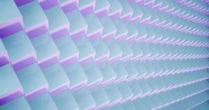 Wiedergabe 3D Animationsmuster geometrisch in der Architektur-Beschaffenheit auf Würfel-Kastenform mit Licht und Schatten stock video