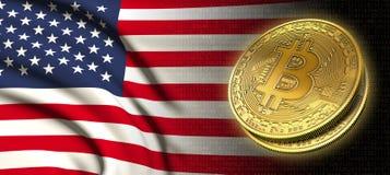 Wiedergabe 3D: Bitcoin-cryptocurrency Münze mit der Staatsflagge von Amerika stock abbildung