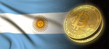 Wiedergabe 3D: Bitcoin-cryptocurrency Münze mit der Staatsflagge von Argentinien lizenzfreie abbildung