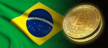 Wiedergabe 3D: Bitcoin-cryptocurrency Münze mit der Staatsflagge von Brasilien lizenzfreie abbildung