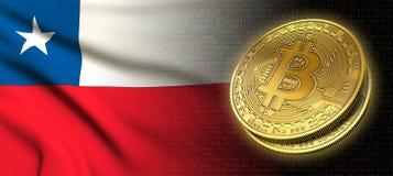 Wiedergabe 3D: Bitcoin-cryptocurrency Münze mit der Staatsflagge von Chile lizenzfreie abbildung