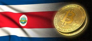 Wiedergabe 3D: Bitcoin-cryptocurrency Münze mit der Staatsflagge von Costa Rica lizenzfreie abbildung