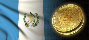 Wiedergabe 3D: Bitcoin-cryptocurrency Münze mit der Staatsflagge von Guatemala stock abbildung