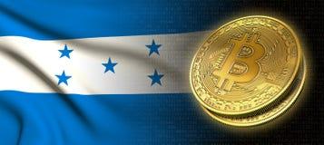 Wiedergabe 3D: Bitcoin-cryptocurrency Münze mit der Staatsflagge von Honduras stock abbildung