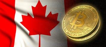 Wiedergabe 3D: Bitcoin-cryptocurrency Münze mit der Staatsflagge von Kanada stock abbildung