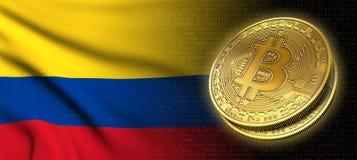 Wiedergabe 3D: Bitcoin-cryptocurrency Münze mit der Staatsflagge von Kolumbien vektor abbildung