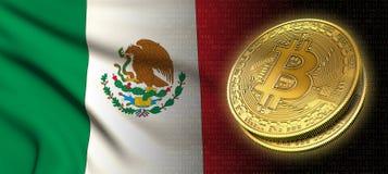 Wiedergabe 3D: Bitcoin-cryptocurrency Münze mit der Staatsflagge von Mexiko lizenzfreie abbildung