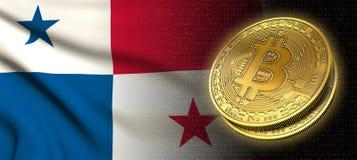 Wiedergabe 3D: Bitcoin-cryptocurrency Münze mit der Staatsflagge von Panama lizenzfreie abbildung