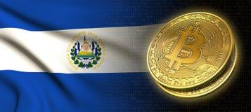 Wiedergabe 3D: Bitcoin-cryptocurrency Münze mit der Staatsflagge von Salvador stock abbildung