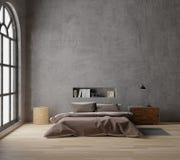 Wiedergabe 3D Dachboden-Artschlafzimmer mit rohem Beton, Bretterboden, großes Fenster vektor abbildung