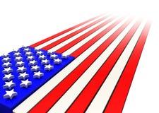 Wiedergabe 3D der amerikanischer Flagge in der starken verschwindenen Perspektive Stockfotos