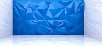 Wiedergabe 3D der blauen Polygonwand im Marmorraum Stockbilder