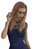 Wiedergabe 3D der Frau im blauen Kleid Vektor Abbildung