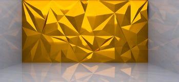 Wiedergabe 3D der Goldpolygonwand im Marmorraum Stockbild