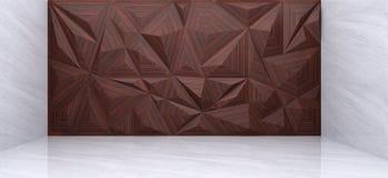 Wiedergabe 3D der hölzernen Polygonwand Stockfotos