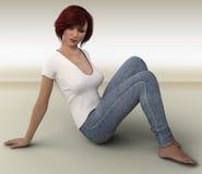 Wiedergabe 3D der jungen Frau Stock Abbildung
