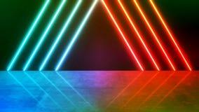 Wiedergabe 3D der korallenroten grünen und roten Orange führte Licht mit Reflexion shinny an Schmutzoberflächenhintergrund vektor abbildung