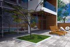 Wiedergabe 3D der modernen Villa Lizenzfreie Stockfotografie
