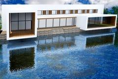 Wiedergabe 3D der modernen Villa Stockfotografie