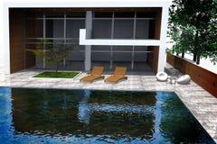 Wiedergabe 3D der modernen Villa Stockbilder